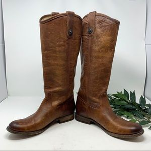 Frye Shoes - Melissa Button Tall Brown Leather Riding Boot 7.5